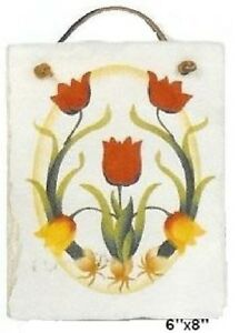Tulips Hand-stenciled Roofing Slate from Maine