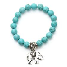 Handmade 10mm Turquoise Beads Tibetan Silver Elephant Charms Pendant Bracelet