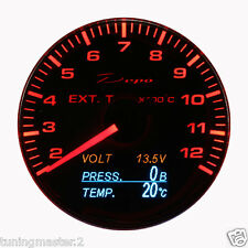 Manometro Strumento 60mm DEPO Termocoppia EGT (4 in 1) Volt/Temp.Olio/Press.Olio