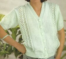 LADIES DOUBLE KNIT SHORT SLEEVED CARDIGAN KNITTING PATTERN 26/40 INCH  (1315)