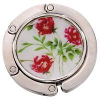 Three Flowers Plants Prints Foldable Handbag Hook Holder Table Hanger K5L8
