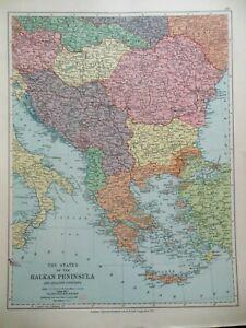 Original Antique Map of The Balkan Peninsula (c1920) Romania, Greece, Yugoslavia