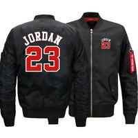 NEW Men's Thick Jacket Michael Jordan 23 MA1 Flight Bomber Coat Baseball Outwear