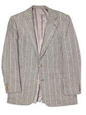 VTG Norman Hilton Mens Sport Coat 40L Silk Blend Glen Plaid Patch Pocket Jacket