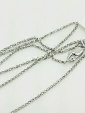 """14k White Gold Round Rolo Link Necklace Pendant Chain 18"""" 1.1mm"""