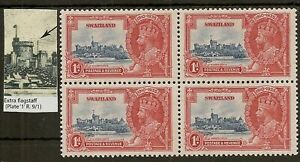 SWAZILAND 1935 SILVER JUBILEE EXTRA FLAGSTAFF SG21a IN MINT BLKS OF 4