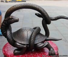 China Feng Shui Wealth Basaltic Snake Dragon Turtle Black tortoise Bronze Statue