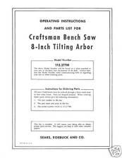 Sears Craftsman  Table Saw Manual Model # 113.27700