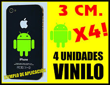 4 UNIDADES - PEGATINAS - STICKERS - ANDROID - VERDE LIMA - 3 CM - VINILO IPHONE