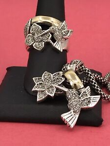 Sterling Silver Flowers and Hummingbirds CZ Set 2 Tone 25.9 Grams