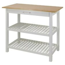 Kitchen Island with Natural Solid Wood Top White N/A