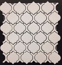 White Glossy Arabesque Moroccan Ceramic Mosaic Tile Wall and Floor Backsplash