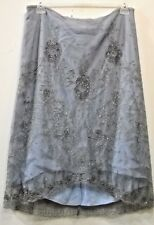 Nwot French Connection slate blue Beaded Embellished Mesh Overlay Fancy SKIRT 12
