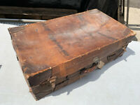 Vintage brown leather suitcase material lined lot MZ030720B