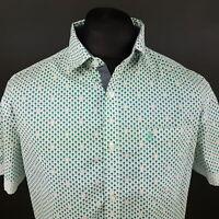Penguin Mens Shirt LARGE Short Sleeve Green Slim Fit Palms Cotton