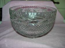 Lead Crystal Cut Glass Huge Punch Bowl Diamond/Daisies Design
