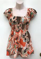 O'NEILL Lovely Boho / Gypsy Cotton Top with Elastic Neck & Waist sz 10