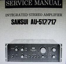 SANSUI au-517 au-717 INT Stereo Amp servizio manuale Inc schema diags vincolato inglese