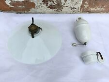 vintage French rise and fall glass opaline light shade weight  fitting white
