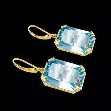 Large Aquamarine Drop Earrings 925 Sterling Silver & Gold Plated Designs