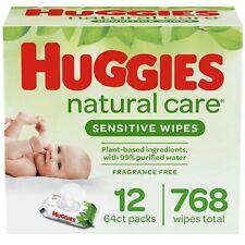 Huggies Natural Care Sensitive Baby Wipes, Unscented, 12 Flip-Top Packs (768ct)