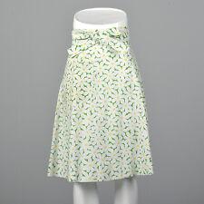 Small Daisy Print Green Wrap Skirt Vtg 60s Summer Knee Length Beach Coverup