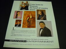 BRANSON 1993 Promo Poster Ad CRYSTAL GAYLE Mickey Gilley GATLIN BROTHERS others