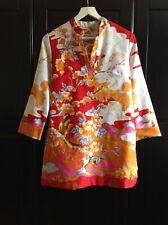 Californian Vintage 60s Oriental Print Beach Tunic by Krist Gudnason Orange Red