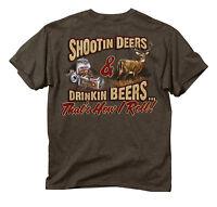 New! Buck Wear HOW I ROLL DEER Mens Short Sleeve Cotton Blend Hunting T-Shirt