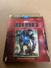 Iron Man 3 (Blu-ray/DVD, 2013, 3-Disc Set, 3D) Marvel Mcu War Machine