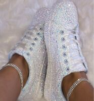 Womens Sneakers Glitter Sequin Canvas Pumps Low Top Casual Ladies Flat Shoes
