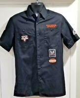 HARLEY DAVIDSON Men's (SM)Garage Pit Shirt Embroidered Black Orange Button Down