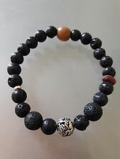 Buddhist Lava rock 8MM Wrist Mala with Sterling silver carved Dragon bead