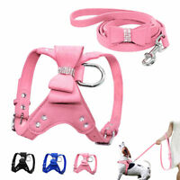 Soft Suede Dog Harness and Leash Bling Rhinestone for Small Medium Dog Chihuahua