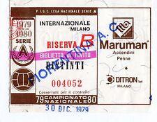 CALCIO   BIGLIETTO  TICKET   INTER   FIORENTINA  CAMPIONATO  30-12-1979