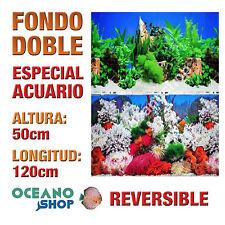 FONDO 120x50cm DOBLE CARA REVERSIBLE DECORATIVO ACUARIO PLANTAS Y CORAL D407