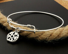 Sterling Silver 925 Expandable Bangle with Seashell charm Adjustable Bangle C143