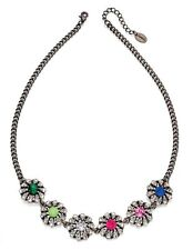 Fiorelli Costume Jewellery Black Rhodium & Rainbow Flower CZ Statement Necklace