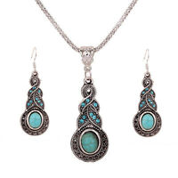 Tibetan Silver Turquoise Crystal Pendant Necklace Earrings Fashion Jewelry Sets