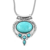 "Stainless Steel Amazonite White Crystal Pendant Necklace Jewelry Size 20"" Ct 15"