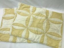 Pottery Barn Vtg Style 2 Standard Quilted Pillow Shams Yellow Patchwork Pinwheel