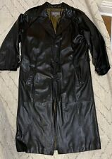 Wilson 100% Leather Trench Coat Black Men's Size M - Vintage Duster Cosplay Euc