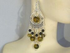 Gemstone Earrings - Dragon Veins Agate, Onyx & 925 Sterling Silver - chandeliers