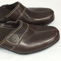 Clarks Clogs Mules Shoes Sz 8 M Brown Leather Comfort Slip On