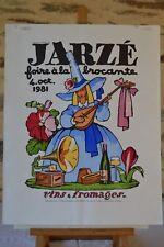 Affiche Jean-Adrien Mercier - Jarzé - 1981 - Brocante - Vins et fromages