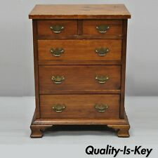 """Antique Small Miniature 24"""" Pine Wood Chippendale Style Tall Chest Dresser"""