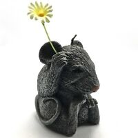 """Vintage Mouse Candle Factory Carved Wax 4"""" Figural with Daisy Flower No Label"""