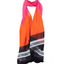 Bagabook Georgette Candy Striped Pink Orange White Classy Fashion Scarf Gifts