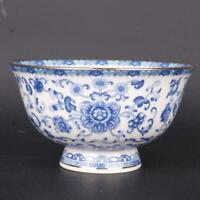 Chinese Qing qianlong Blue and White Porcelain Gild Edged Lotus Design Big Bowl