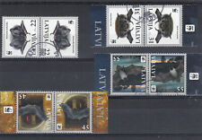 LATVIA 2008 WWF - Bats, Full Set of used Tete-beche stamps